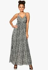 Vila Size 14 black white strappy chiffon lined maxi dress