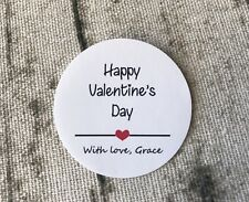 24x 4cm Round White Paper Happy Valentine's Day Stickers Personalised Gift Label