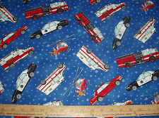 Cotton Fabric Emergency Vehicles with stars on the BLUE  background BTY