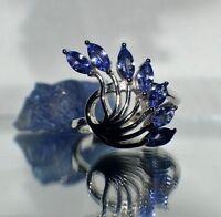 Glamour 3.65 ct Naturel Émeraude en 24K Or Jaune Sur Argent Sterling .925 Ring