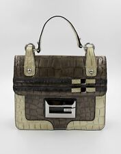 GUESS women handbag_patent vegan leather reptile print_grey khaki sand color_NEW