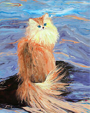 "Cute Long Hair Cat Original Acrylic Semi-Abstract Painting ""Pacifism"" EcsooArts"