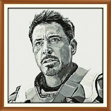 iron man black and white CROSS STITCH CHART 12.0 x 12.0 Inches