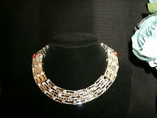 neckalce narrow clear topaz + 925 Silver Cleopatra choker adjustable