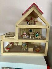 schönes Holzpuppenhaus Puppenstube Holz Puppenhaus Spielhaus + Möbel + Puppen