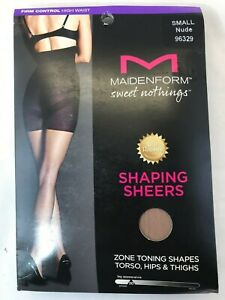 Maidenform Sweet Nothings Shaping Sheers Pantyhose High Waist Control Nude - S