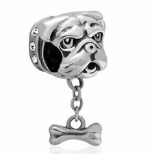 Dog Puppy With Bone 925 Sterling Silver Charm Bead Fits European Bracelet S3183