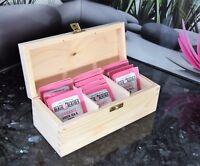 Wooden Tea Bag Box 3 Sections Craft Box Natural Plain Wood Home Decor