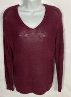 Tommy Bahama Women's Maroon Sweater Size Medium V-neck Long Sleeve Pullover EUC