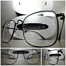 Mens Women VINTAGE RETRO Style Clear Lens EYE GLASSES Square Black Fashion Frame