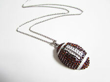 """Cute large football with rhinestones long necklace 25"""""""