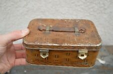 """RARE 1920's GEO BASSETT """"PICNIC BASKET"""" SWEET TIN Lunch Box Leather Handle Can"""