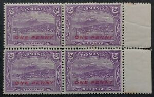1912 Tasmania Australia Blk 4X1d surch on 2d Brt Violet Pict stamps P12 1/2 MUH