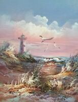 Original M. FARLEY Oil Painting Lighthouse Beach Seagulls Ocean Nautical