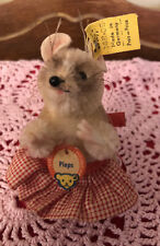 Vintage Steiff Stuffed Animal Mohair Pieps the Mouse Tags Buttons 30805 Germany