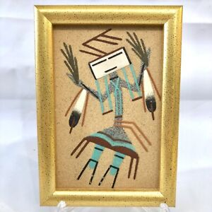 Vintage Authentic Navajo Native American Kachina Sand Wall Art Painting Framed