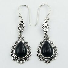 Silver Earrings Hook PEAR Cut Black Agate GEMSTONE Vintage AJOURE 925 Sterling