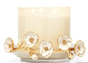 Bath & Body Works Glass Floral Branch 3 Wick Candle Holder White & Gold Elegance