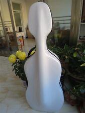 4/4 white Cello Carbon Fiber Case Hard Case W/Wheels Easy Carry Free Shipping