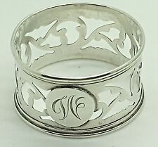 Sterling Silver Napkin Ring Roden Bros Birks W  Monogram Letter  Pierced Cut Out