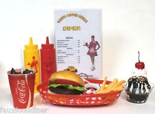 FAKE FOOD DINER CAR HOP CHEESEBURGER MEAL/FRIES W/ 60'S COKE SHIPS FREE