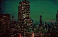 Vintage Postcard - Twilight Time Mid Manhattan New York City NY #4114