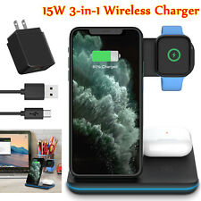3 in 1 15W Qi Wireless Fast Charger Stand Pad for iPhone 11/Apple Watch/Samsung