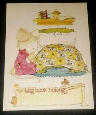 Vintage 1980's Antioch Bookplate, Darling mouse saying bedtime prayer