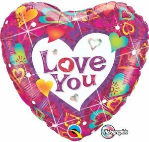 "I LOVE YOU BALLOON 18"" LOVE YOU VIBRANT HEARTS VALENTINE'S HOLOGRAPHIC BALLOON"