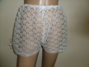 WHITE PINK LACE  TRIM FRENCH CAMI STYLE KNICKERS  30-46 WAIST SATIN BOWS