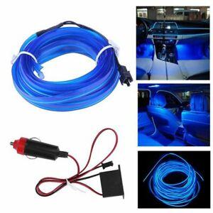 LED Blue Car Interior Decor Atmosphere Wire Strip Light Lamp Accessories 12V Eak