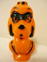 VINTAGE ROSEN ROSBRO ORANGE MASKED PIRATE DOG HALLOWEEN CANDY CONTAINER 1950's