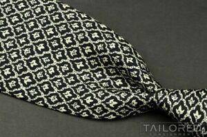 "HERMES 7701 OA Black Geometric 100% Silk Mens Luxury Tie - 3.50"""