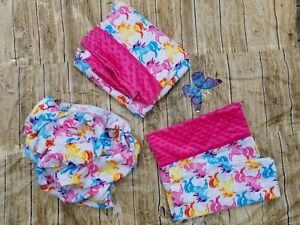 3 Set Lovely Unicorn Print and Pink Minky  Bed Set For Toddler,cotton flannel