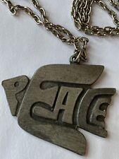 Vintage Necklace Word Peace Dove Bird Silver Tone Nice