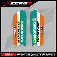 KTM SX 85 2013 - 2017 LOWER FORK DECALS MOTOCROSS MX GRAPHICS MOTOREX ORANGE
