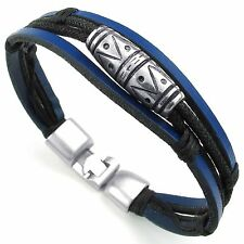MENDINO Men's Alloy Leather Rope Bracelet Tribal Braided Cuff Bangle Biker Blue