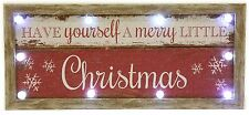 Have Yourself A Merry Little Christmas Light Up Led Wooden Wall Sign Decoration