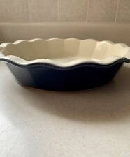 """Emile Henry Exclusive for Williams Sonoma 9"""" Deep Dish Pie Plate - Blue - Nwot"""