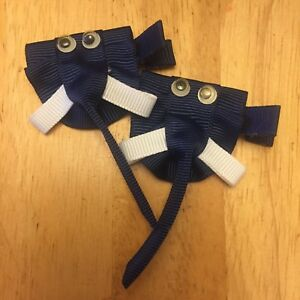 🐘 Elephant Navy Kids Baby 3D Hair Pin Clips Bow Access 2Pc 🇺🇸 US Seller!