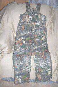 Boys XL Insulated Hunting Bib Overalls Camouflage Coveralls  Kanati Camo Bibs
