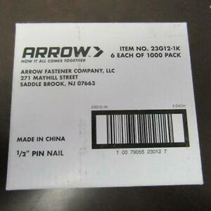 """PACK OF 6000 ARROW 23G12-1K 1/2"""" PIN NAIL"""