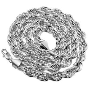 """Rope Chain 10mm Thick 30"""" Inch  Long Silver Platinum Tone Twisted Heavy Dookie"""