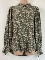 BNWT NEXT khaki green botanical floral print shirt blouse top size 12 euro 40