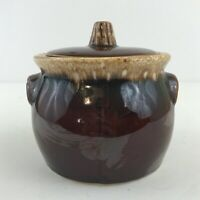 VINTAGE Hull Pottery Sugar Bowl with Lid Brown Drip Glaze Oven Proof Made in USA