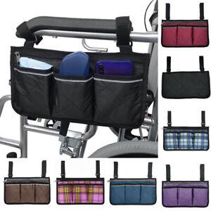 Wheelchair Armrest Side Pouch Walker Storage Carry Bag Organizers Phone Holder