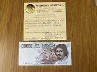BANCONOTA LIRE 100000 CARAVAGGIO I TIPO E 1992 certificata qFDS