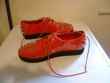 GLAM ROCK MOD RED CLASSIC PUNK RETRO PATENT WET LOOK STUDDED SPIKED SHOES UK 7
