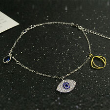 CREATED SAPPHIRE & CREATED DIAMOND 925 STERLING SILVER ANKLET EVIL EYE BRACELET
