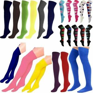 Womens Checked Printed Argyle Over The Knee Socks Sox For Fancy Dress Parties